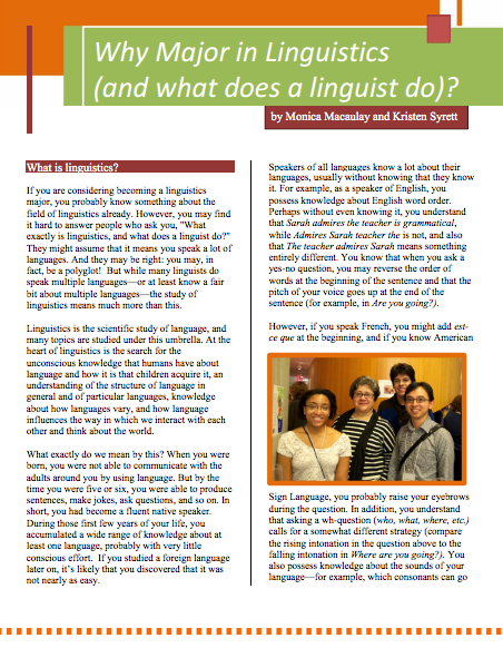 Faq Pamphlets Linguistic Society Of America