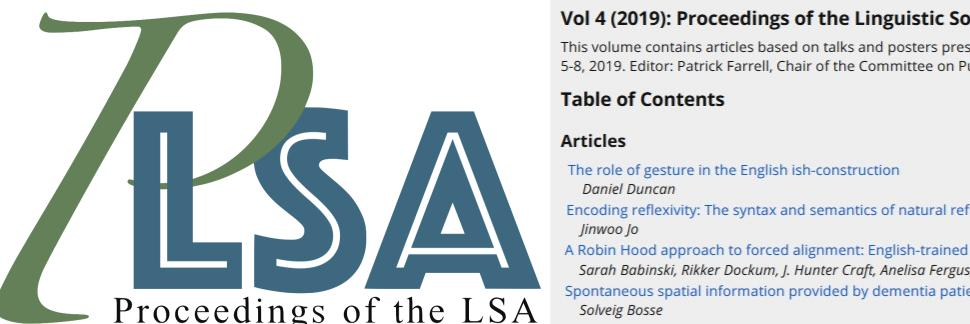 Fourth Volume of Proceedings of the LSA Published