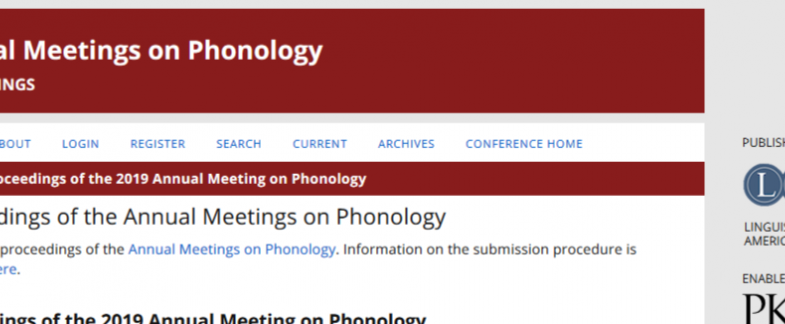 Proceedings of 2019 Annual Meeting on Phonology Published